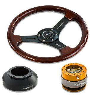 "NRG Innovations 13"" 330mm Deep Dish Style Wood Grain Black Spokes Racing Steering Wheel Combo with 6 Hole Short Hub Adapter with Gen 2.0 Rose Gold Quick Release Kit SRK 150H Automotive"