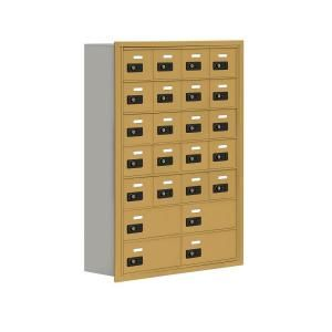Salsbury Industries 19000 Series 30.5 in. W x 42 in. H x 8.75 in. D 20 A/4 B Doors R Mounted Resettable Locks Cell Phone Locker in Gold 19078 24GRC