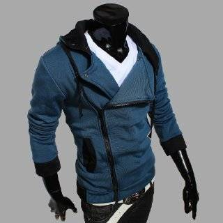 Mens Slim Fit Top Designed Hooded Jackets Costume Coats Cosplay Hoodie light gray S Clothing