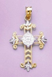 14k Gold Religious Necklace Charm Pendant, Beaded Cut out Cross With Accents Two Million Charms Jewelry