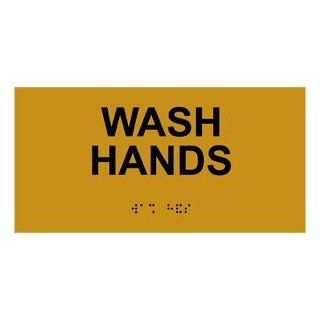 ADA Wash Hands With Symbol Braille Sign RSME 366 BLKonGLD Hand Washing  Business And Store Signs