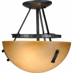 Filament Design Lenor 2 Light Frontier Iron Fluorescent Semi Flush Mount V5342 53