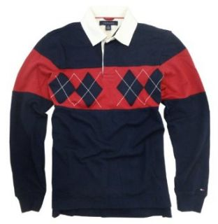 Tommy Hilfiger Mens Argyle Chest Stripe Rugby Shirt (Small, Masters Navy) at  Men�s Clothing store