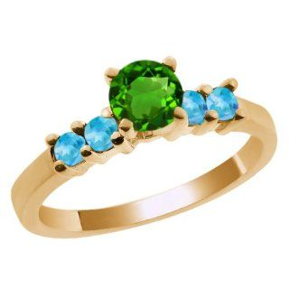0.82 Ct Round Green Chrome Diopside Swiss Blue Topaz 14K Yellow Gold Ring Jewelry