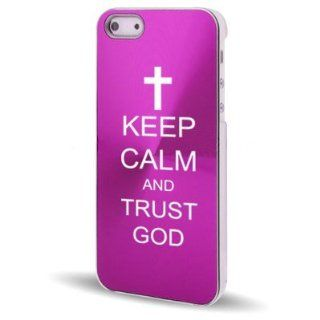 Apple iPhone 5 5S Hot Pink 5C420 Aluminum Plated Hard Back Case Cover Keep Calm and Trust God Cross Cell Phones & Accessories