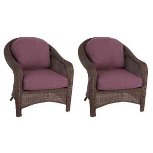 Hampton Bay Walnut Creek Patio Club Chair with Purple Cushions (2 Pack) DISCONTINUED FRS62265 Purple