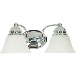 Glomar Empire 2 Light Polished Chrome Vanity with Alabaster Glass Bell Shades HD 337