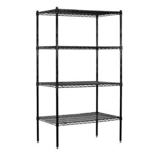Salsbury Industries 9600S Series 36 in. W x 74 in. H x 18 in. D Industrial Grade Welded Wire Stationary Wire Shelving in Black 9638S BLK