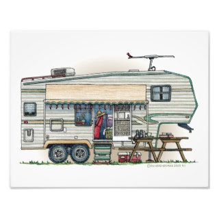 Cute RV Vintage Fifth Wheel Camper Travel Trailer Photographic Print