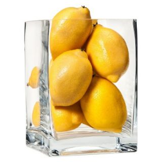 Threshold 4.75x6.75 Square Glass Vase With Lemon Vase Fillers