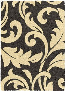 "Creative Home Modern Design Shag Area Rug 5695 436 Black/Ivory Floral Scroll 4' 7"" x 6' 7"" Rectangle   Machine Made Rugs"