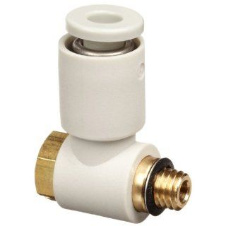 SMC KQ2V04 M5A PBT & Brass Push to Connect Tube Fitting, Universal Elbow, 4 mm Tube OD x M5x0.8 Male