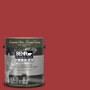 BEHR Premium Plus Ultra 1 gal. #UL110 16 Bijou Red Interior Semi Gloss Enamel Paint 375301