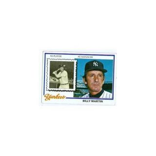 Autograph Warehouse 34285 Billy Martin 1978 Topps Baseball Card New York Yankees Unsigned Card No.  721