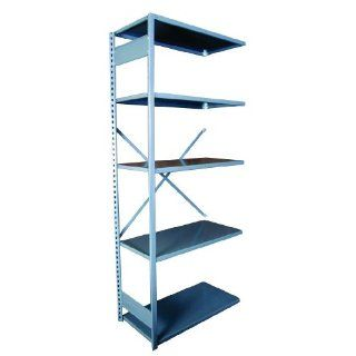 "Equipto 663W5A V Grip 18 Gauge Heavy Duty Steel Open Shelf Add On Unit with 5 Shelves, 440 lbs Shelf Capacity, 48"" Width x 84"" Height x 18"" Depth, Office Gray Tool Utility Shelves"