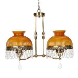 Dale Tiffany Diego Hurrican 2 Light Hanging Antique Brass Pendant Lamp STH11076