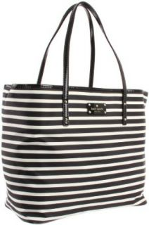 Kate Spade New York  Kate Spade Nylon Stripe Harmony PXRU3368 Baby Bag,Black/Cream,One Size Clothing