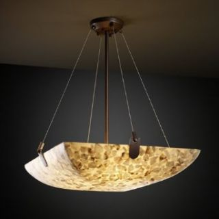 Alabaster Rocks U Clips 21 inch Bronze & Mosaic 3 Light Square Bowl Pendant   Ceiling Pendant Fixtures