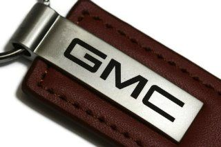 GMC Brown Leather Key Fob Authentic Logo Key Chain Key Ring Keychain Lanyard Automotive
