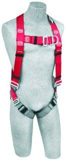 Protecta PRO, 1191235 Fall Protection Full Body Harness, Back And Front D Rings and Pass Thru Legs, 420 Pound Capacity, X Large, Red/Gray   Fall Arrest Safety Harnesses