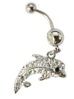 Cubic Zirconia Large Gemstone Dolphin Belly Ring Navel Ring Jewelry