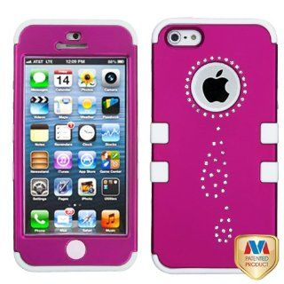 Apple iPhone 5 Hard Plastic Snap on Cover Diamond Water Drop Titanium Solid Hot Pink/Solid White TUFF Hybrid AT&T, Cricket, Sprint, Verizon Plus A Free LCD Screen Protector (does NOT fit Apple iPhone or iPhone 3G/3GS or iPhone 4/4S) Cell Phones &
