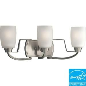 Progress Lighting Wisten Collection Brushed Nickel 3 light Fluorescent Vanity Fixture P2796 09EBWB