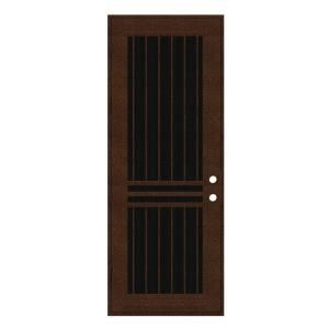 Unique Home Designs Plain Bar 36 in. x 96 in. Copperclad Left Hand Surface Mount Aluminum Security Door with Charcoal Insect Screen 1S1001EM2CCISA