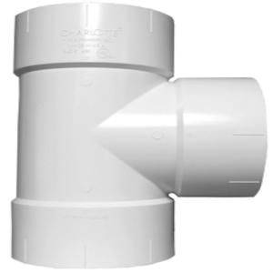 Charlotte Pipe 8 in. x 8 in. x 6 in. PVC DWV Straight Tee Reducing PVC 00401A 2600