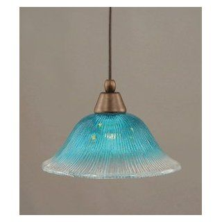 Toltec Lighting 22 BRZ 438 One Light Cord Mini Pendant, Bronze Finish with Teal Crystal Glass   Ceiling Pendant Fixtures