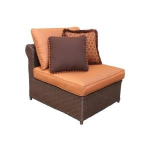 Hampton Bay Cibola Armless Patio Club Chair with Nutmeg Cushions FW HUNCLBCH I2