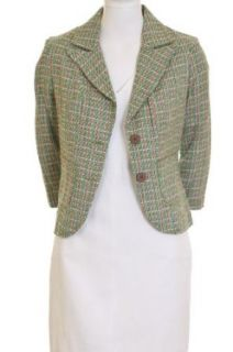 dmbm Tweed Woven Lined Two Button Blazer Jacket Green Large