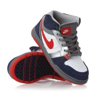 Kid's Nike Mogan Mid 3 JR 511243 461 Mid Night Navy Red White Skateboarding Shoe Footwear Shoes