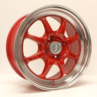 15x7 Enkei J SPEED (Red w/ Machined Lip) Wheels/Rims 4x100 (464 570 4925RD) Automotive