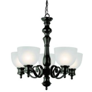 Filament Design Cabernet Collection 5 Light Oiled Bronze Chandelier with White Frosted Shade CLI WUP543231