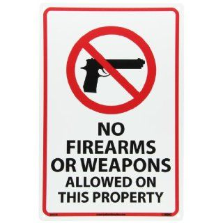 "NMC M452R Security Sign, Legend ""NO FIREARMS OR WEAPONS ALLOWED ON THIS PROPERTY"", 12"" Length x 18"" Height, Rigid Polystyrene Plastic, Red/Black on White Industrial Warning Signs"
