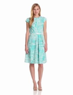 Jones New York Women's Printed Belted Dress, Ivory/Indian Turquoise, 6