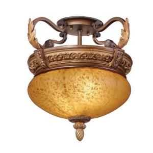 Hampton Bay Chateau Deville 2 Light Walnut Semi Flush Mount Ceiling Fixture 16021