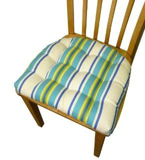 Small Patio Chair   Trudy Cozumel Cabana Stripe   Indoor / Outdoor Mildew Resistant, Fade Resistant   Outdoor Dining Set Chair Pad with Ties   Reversible, Tufted, Box Edge, Latex Foam Fill   Outdoor Furniture Replacement Cushion for Patio Armchair (Turquo