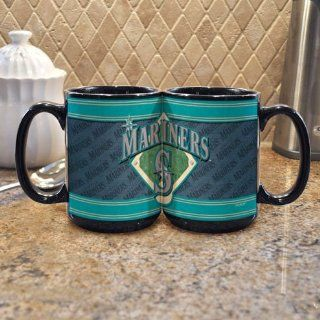 MLB Seattle Mariners 15 Ounce Black Felt Mug (2 Pack)  Sports Fan Coffee Mugs  Sports & Outdoors