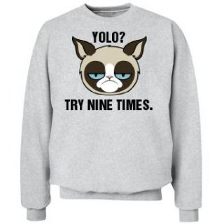 A Grumpy Yolo Cat Unisex Jerzees NuBlend Crewneck Sweatshirt Clothing