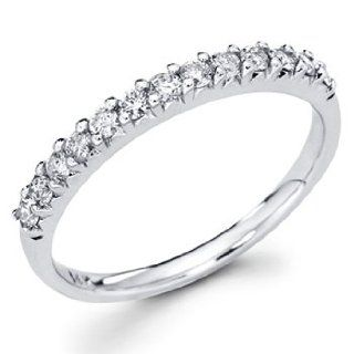 14K White Gold Round cut Diamond Ladies Women Wedding Anniversary Ring Band (0.37 CTW., G H Color, SI Clarity) The World Jewelry Center Jewelry