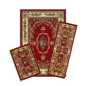 Capri Savonnerie Red 3 Piece Set Contains 5 ft. x 7 ft. Area Rug, Matching 22 in. x 59 in. Runner and 22 in. x 31 in. Mat X470/372 R