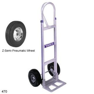 "Wesco 220390 Series 470 Cobra Lite Aluminum Hand Truck with High Back Loop Handle, Semi Pneumatic Wheels, 600 lbs Load Capacity, 18"" Width x 52"" Height x 20"" Depth"