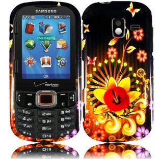 Black Yellow Flower Hard Cover Case for Samsung Intensity III 3 SCH U485 Cell Phones & Accessories