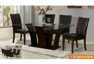American Eagle Furniture 471DT & 470CH Espresso Finished Dining Table With Black Leatherette Chairs Dining Set Home & Kitchen