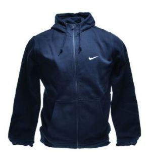 Nike Classic Club Swoosh Fleece Hoodie Full Zip Men's Sweatshirt Obsidian Navy 611456 473 (Size M)  Athletic Warm Up And Track Jackets  Clothing