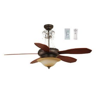 Ellington BRH52BBZ5CRW Birmingham 52 Inch Five Blade Ceiling Fan with Remote and Wall Control, Blacksmith Bronze with Teastain Light