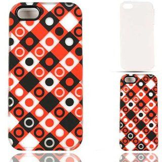 Cell Armor IPhone5 PC JELLY TE496 S Hybrid Fit On Jelly Case for iPhone 5   Retail Packaging   Trans. Black/Red/White Dots in Squares Cell Phones & Accessories