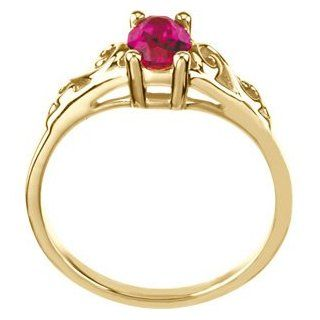 Elegant and Stylish July Kid's Imitation Birthstone Ring in 14K Yellow Gold ( Size 3 ), . Jewelry